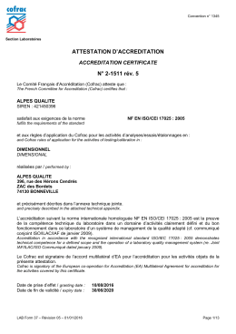 ATTESTATION D`ACCREDITATION N° 2-1511 rév. 5