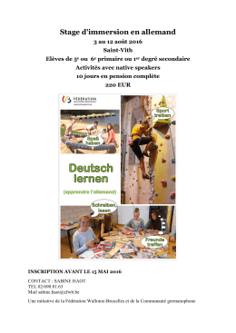Stage d`immersion en allemand