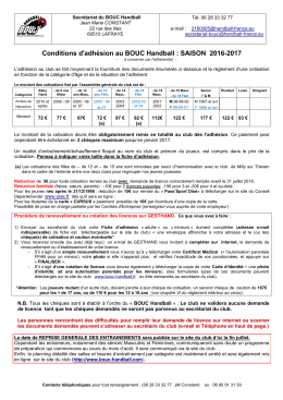 Conditions d`adhésion club 2016-17