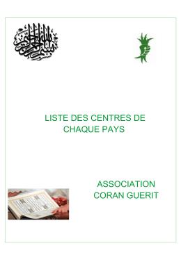 liste des centres - Ben Halima Abderraouf