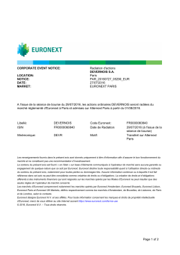 Avis de radiation des actions Devernois d`Euronext Paris