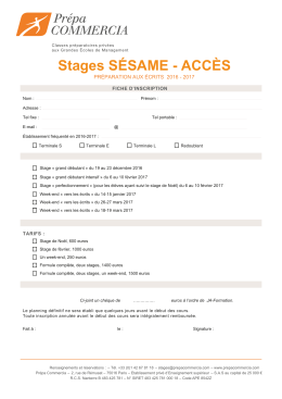 INSCRIPTION Stages SESAME - ACCES