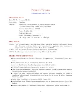 Detailed curriculum Vitae - Département d`informatique et de