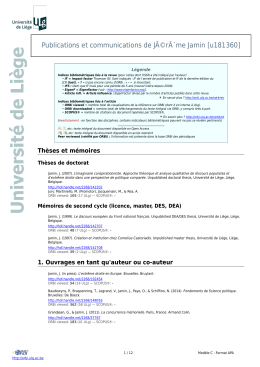 Publications - ORBi - Université de Liège