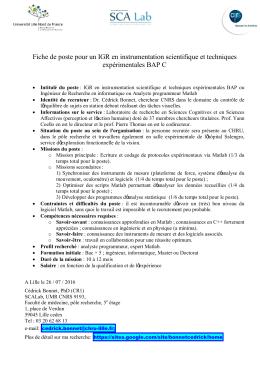 IGR en instrumentation scientifique et techniques expérimentales