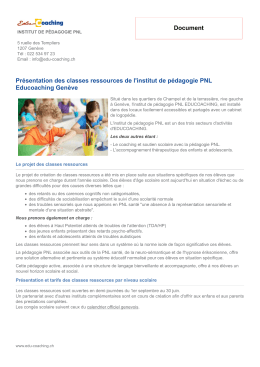 Document Présentation des classes ressources de l - Edu
