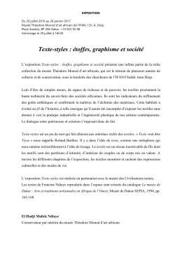 présentation - Université Cheikh Anta Diop de Dakar