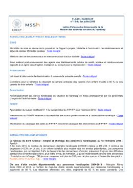 FLASH - HANDICAP n° 13 du 1er juillet 2016 Lettre d`information