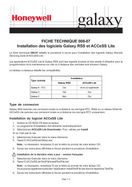 FICHE TECHNIQUE 008-07 Installation des logiciels Galaxy RSS et