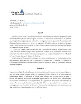 POL 6602 - Département de science politique