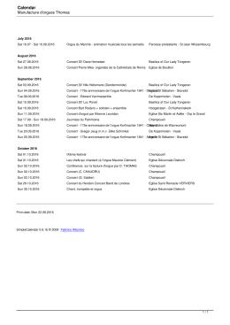 Calendar - Manufacture d`orgue Thomas