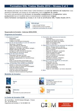 Formation SDL Trados Studio 2014 – Niveau 2 et 3