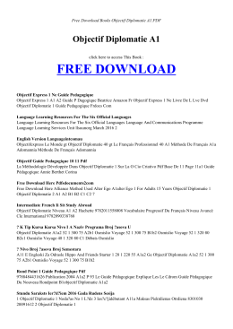 OBJECTIF DIPLOMATIE A1 | Free Books PDF
