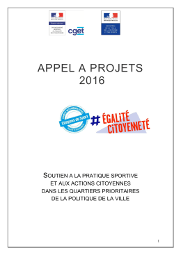 APPEL A PROJETS 2016