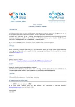 Consultez l`appel d`offre. - Fédération québécoise de l`autisme