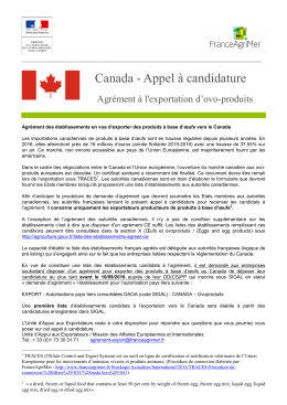 Canada - Appel à candidature