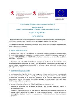 Appel à projets AMIF 2014-2020 partie générale