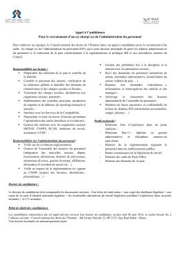 Appel à Candidature Pour le recrutement d`un (e) chargé (e) de l