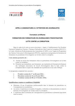 APPEL A CANDIDATURES A L`ATTENTION DES JOURNALISTES