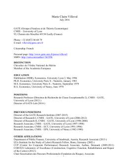 CV - Groupe d`Analyse et de Théorie Economique - UMR5824