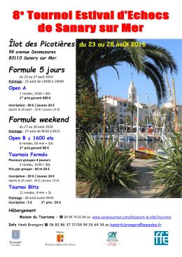 8e Tournoi Estival d`Echecs de Sanary sur Mer