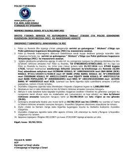 No4/S/NO/RNP/MIC I - Rwanda National Police