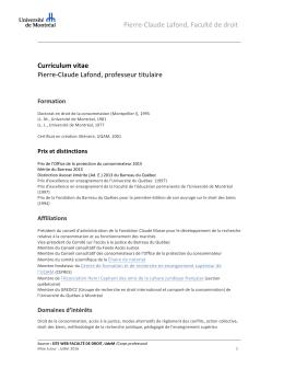 C.V. Curriculum Vitae - Faculté de droit