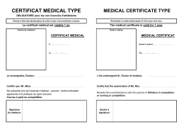 CERTIFICAT MEDICAL TYPE