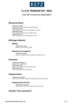 Liste des ressources disponibles pour cet ouvrage
