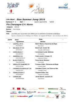 Liste de départs - Ecurie Michel Darioly