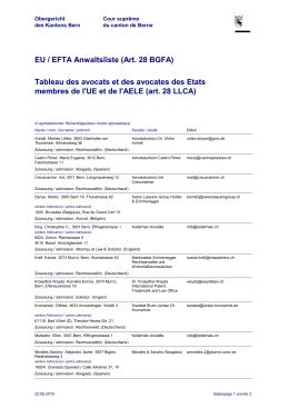 EU / EFTA Anwaltsliste (Art. 28 BGFA) Tableau des avocats et des