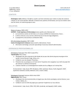 contexte education experiences professionnelles