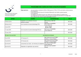 programme des cours 2016