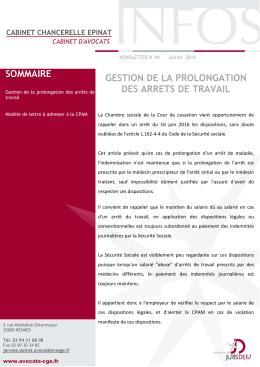 news letter juillet 2016 - Cabinet Chancerelle Epinat Avocats