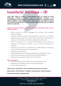 Conseiller(e) Touristique – CDI - Thonon-les
