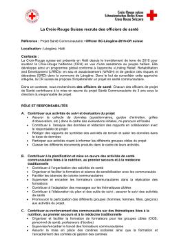 Offre emploi-officier santé-projet SC 2016 - Croix