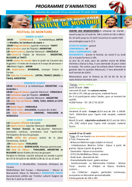 consulter le programme des animations.