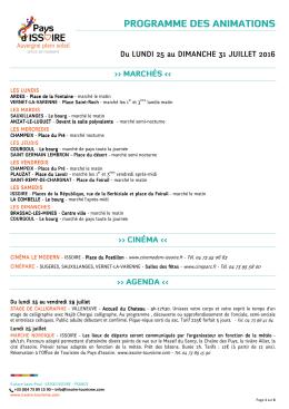 Programme du 25 au 31 juillet 2016 - Saint-Vincent