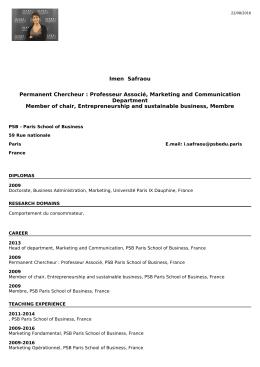 Imen Safraou Permanent Chercheur : Professeur Associé, Marketing