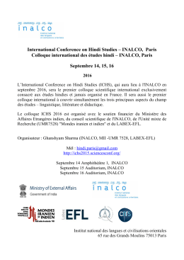 International Conference on Hindi Studies – INALCO, Paris