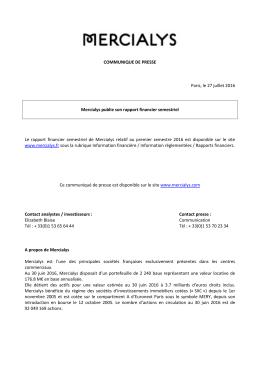 COMMUNIQUE DE PRESSE Paris, le 27 juillet 2016 Mercialys