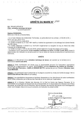 Page 1 Un nouvel art \/ de ville Mairie Fait à La Grande Motte, la i {j