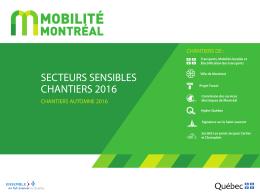 Secteurs sensibles - Chantiers automne 2016