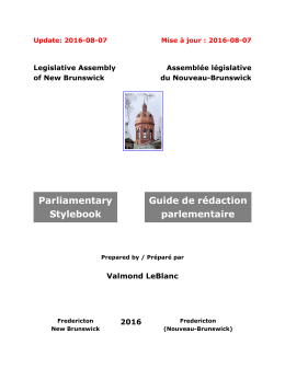 Parliamentary Stylebook Guide de rédaction parlementaire