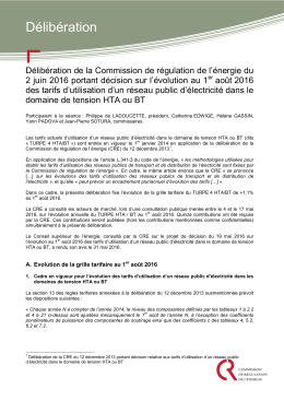 Délibération de la CRE du 2 juin 2016 portant décision sur l
