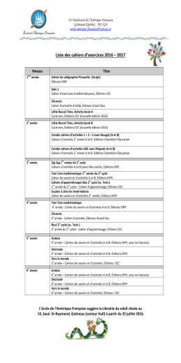 Liste des cahiers d`exercices 2016 – 2017
