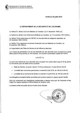 Arrêté du 29 juillet 2016 concernant l`interdiction des survols