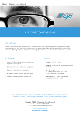 AGEO Recrutement | Assistant Comptable H/F