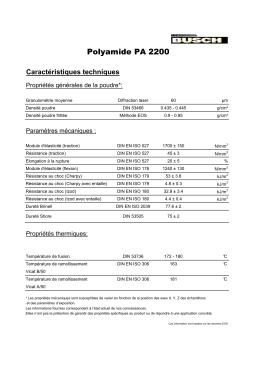 PA 2200 caracteristiques techniques selon EOS 09.02