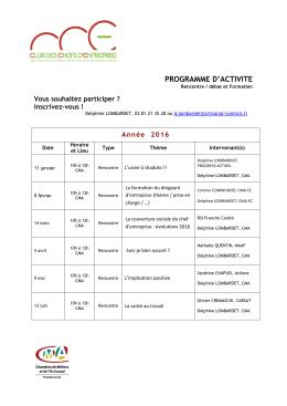 Programme activités 2016. - Chambre de métiers et de l`artisanat de